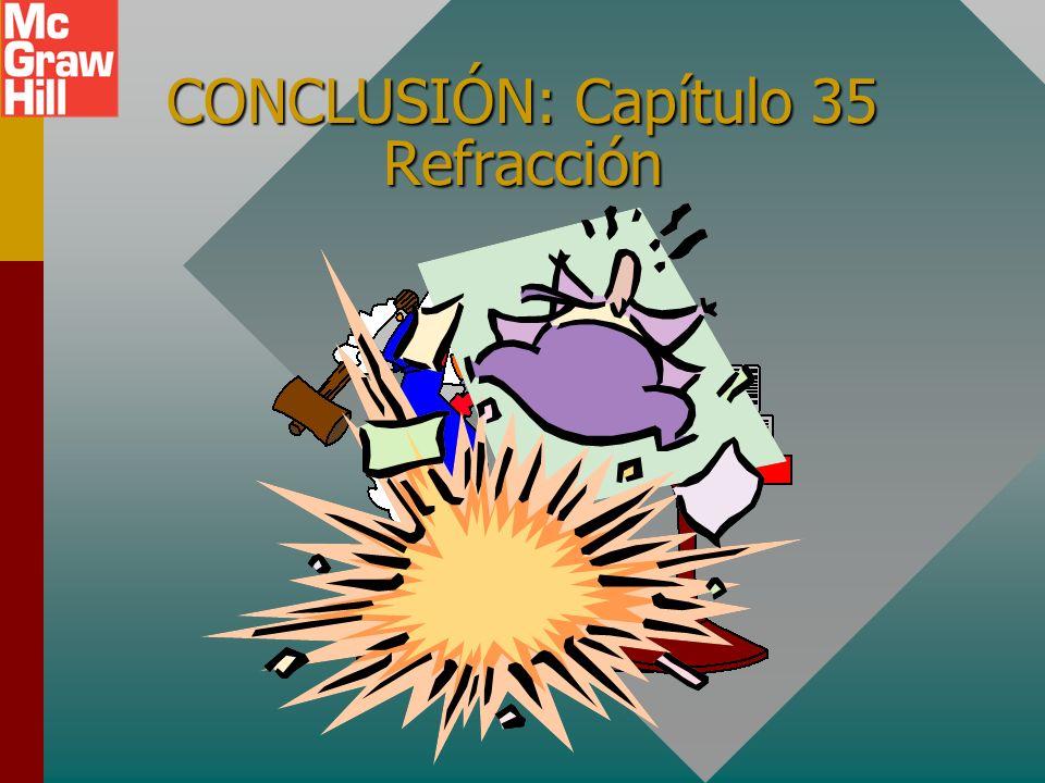 Resumen (Cont.) El ángulo crítico c es el ángulo de incidencia límite en un medio más denso que resulta en un ángulo de refracción igual a 90 0. n 1 >