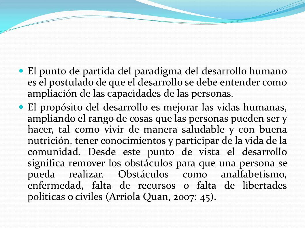 Índice de Desarrollo Humano -íDH- Los Informes Nacionales de Desarrollo Humano, han propuesto el íDH, como un indicador del estado de las capacidades consideradas fundamentales.