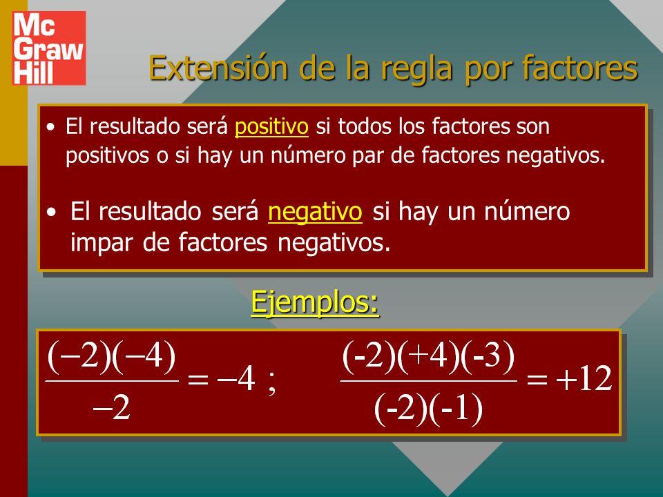 Regla de división para números signados Si dos números tienen signos iguales, su cociente es positivo.Si dos números tienen signos iguales, su cocient
