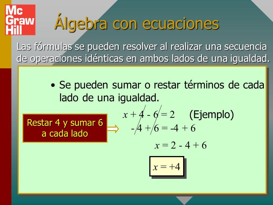 Repaso de álgebra Una fórmula expresa una igualdad, y dicha igualdad se debe conservar. Si x + 1 = 5 entonces x debe ser igual a 4 para conservar la i