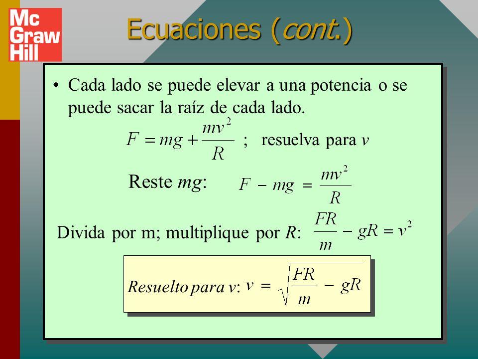 Ecuaciones (cont.) Ahora observe uno más difícil. (Todo lo que se necesita es aislar la incógnita.) 2 ; resuelva para g mv F = mg + R Reste Divida ent