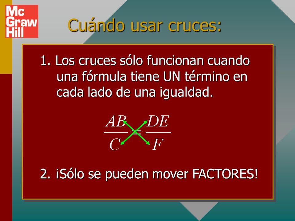 Ejemplo 5: Resolver para f. Primero mueva f para tenerlo en el numerador. A continuación mueva a, d y (b + c)
