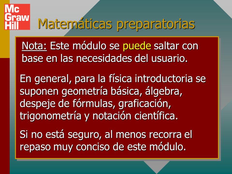 Matemáticas preparatorias Nota: Este módulo se puede saltar con base en las necesidades del usuario.