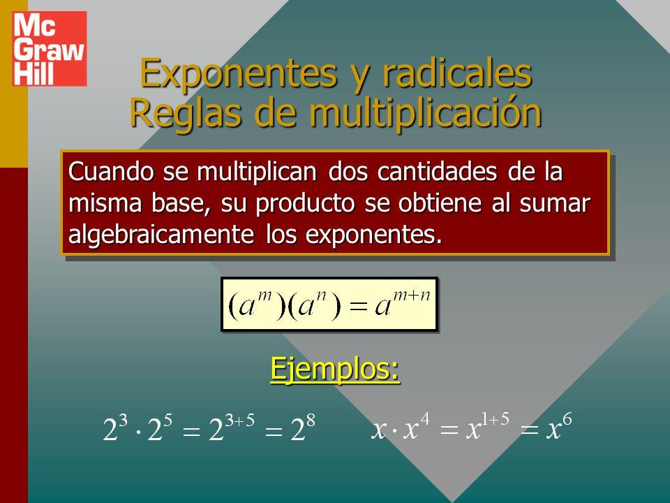 ¡ Camino escabroso por delante ! Las reglas de exponentes y radicales son difíciles de aplicar, pero necesarias en notación física. Por favor, ábrase