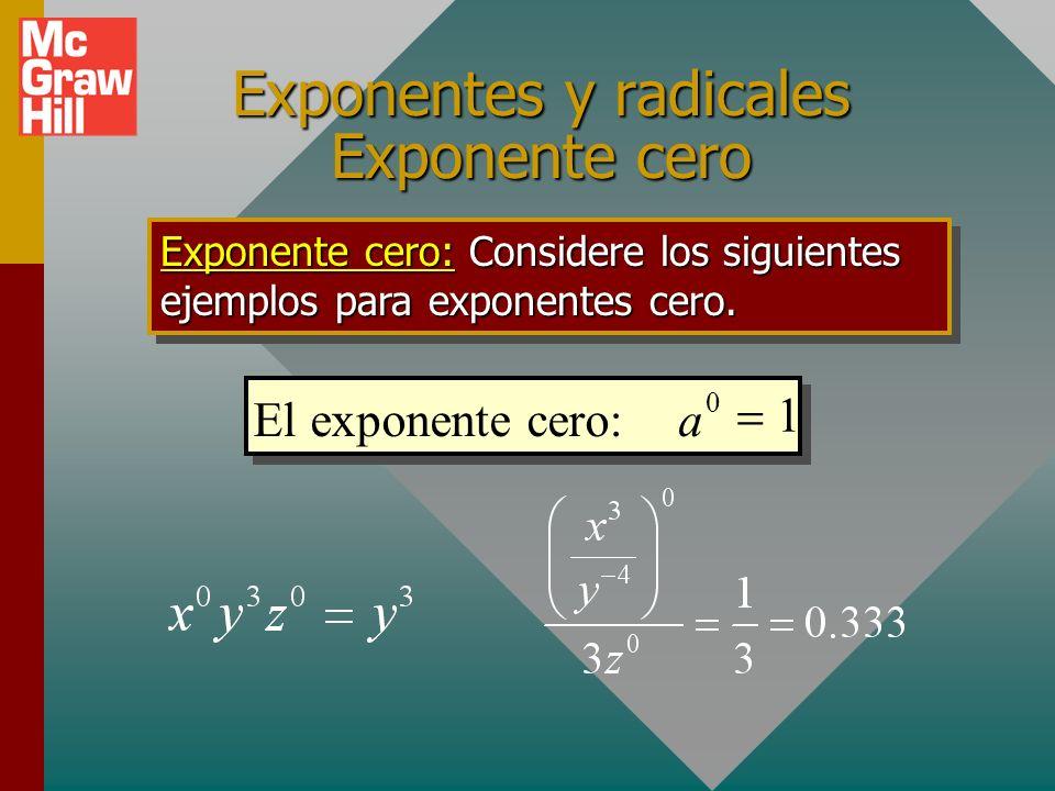 Exponentes y radicales Exponente cero Exponente cero: Cualquier cantidad elevada a la potencia cero es igual a 1. SÍ, es correcto ¡CUALQUIER COSA! Ele
