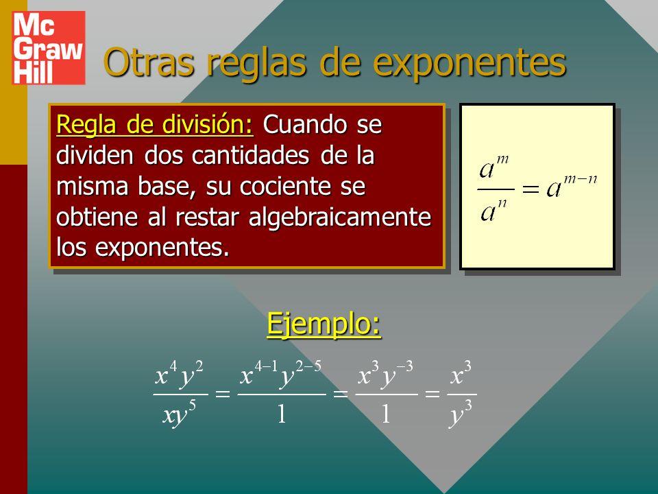 Exponentes y radicales Exponente cero Exponente cero: Considere los siguientes ejemplos para exponentes cero. 0 El exponente cero:a