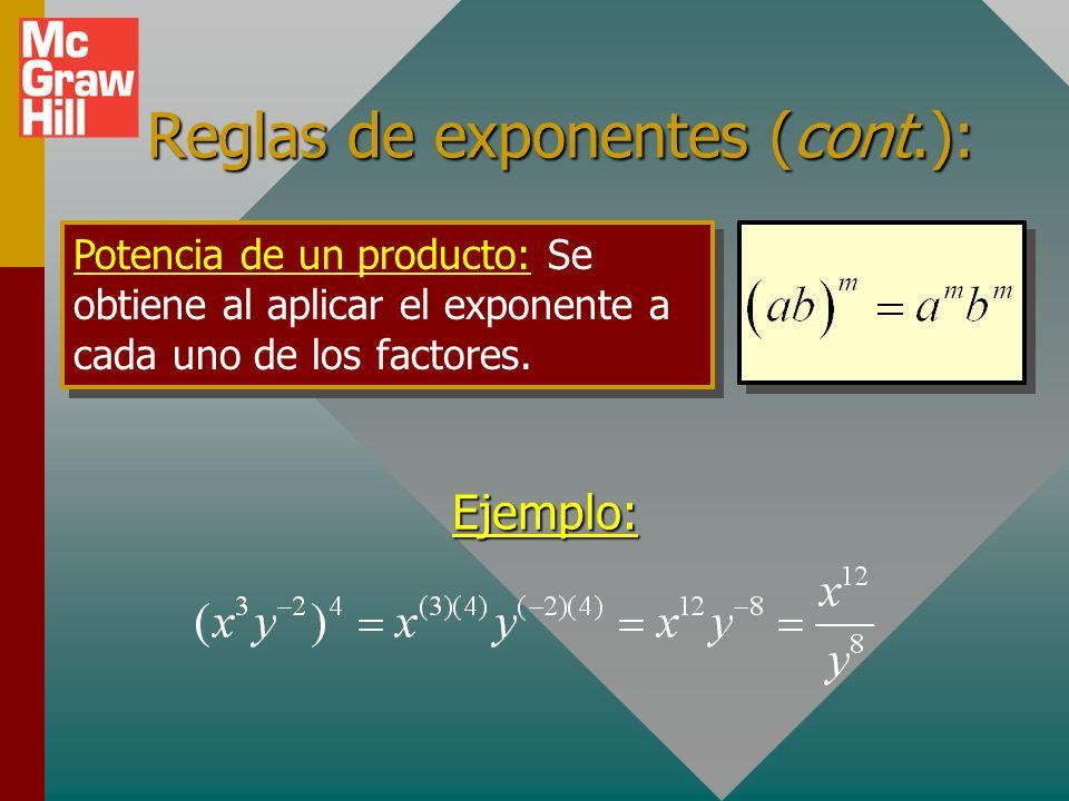 Reglas de exponentes (cont.): Potencia de una potencia: Cuando una cantidad a m se eleva a la potencia m: Ejemplos: