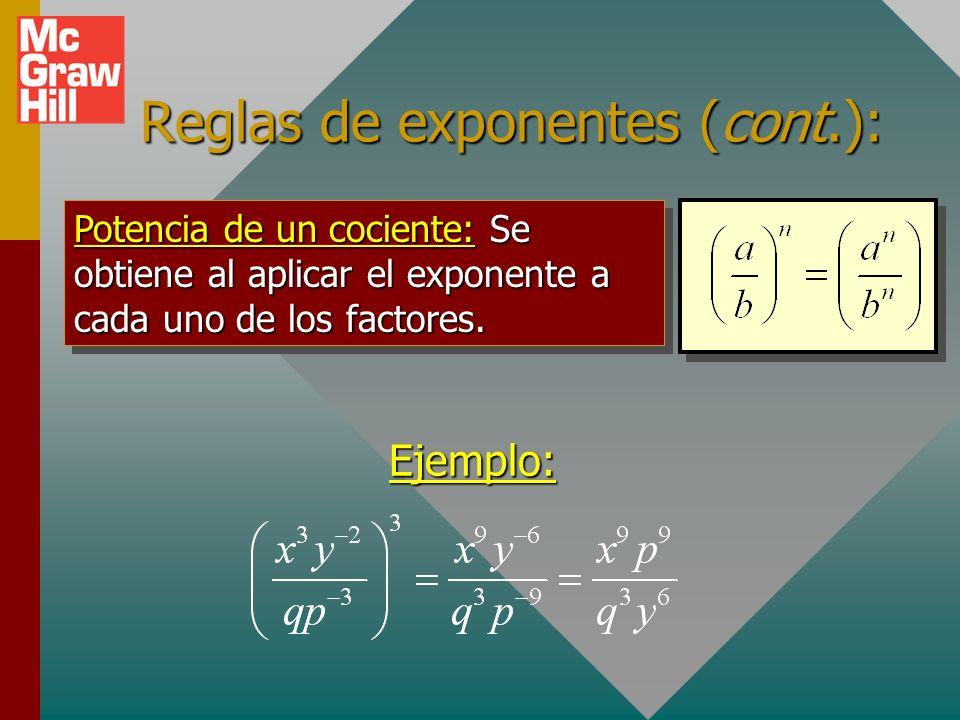 Reglas de exponentes (cont.): Potencia de un producto: Se obtiene al aplicar el exponente a cada uno de los factores. Ejemplo:
