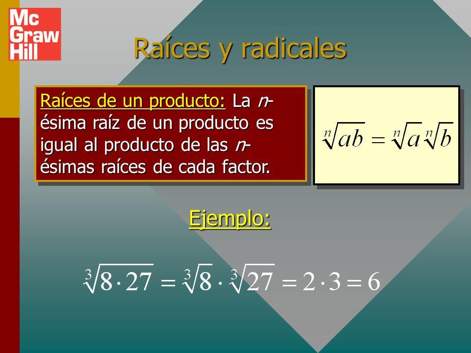 Reglas de exponentes (cont.): Potencia de un cociente: Se obtiene al aplicar el exponente a cada uno de los factores. Ejemplo: