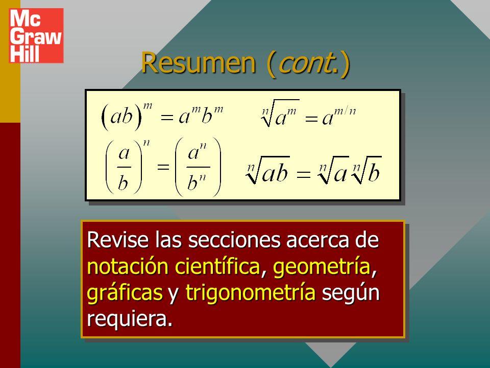 Resumen Trabajo con ecuaciones: Sume o reste el mismo valor a ambos lados. Multiplique o divida ambos lados por el mismo valor. Eleve al cuadrado o sa
