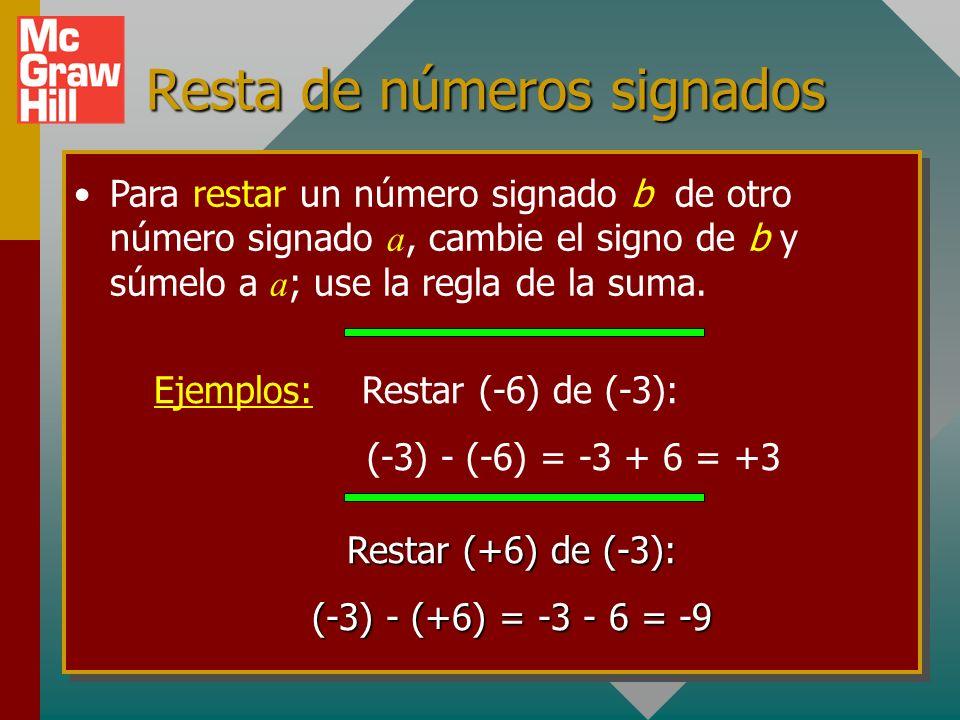 Resta de números signados Para restar un número signado b de otro número signado a, cambie el signo de b y súmelo a a ; use la regla de la suma.