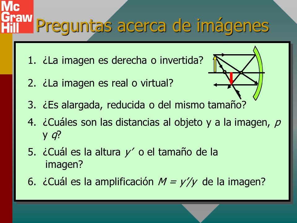 Revisión de hechos de imágenes Para espejos planos, la distancia al objeto es igual a la distancia a la imagen y todas las imágenes son derechas y vir