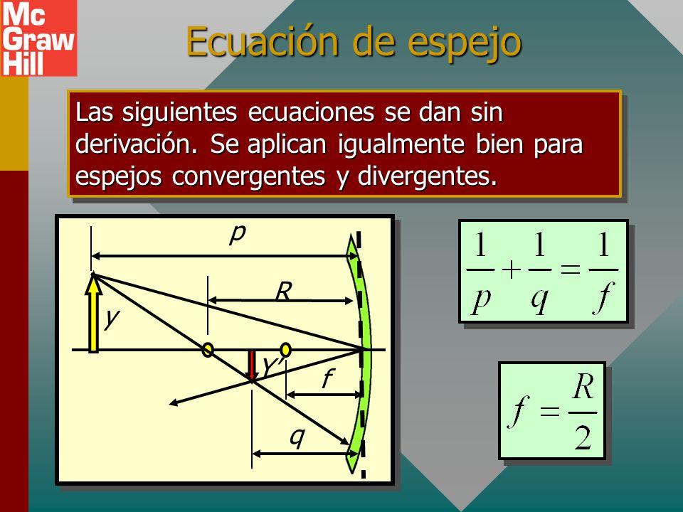 Definición de símbolos Al aplicar álgebra y geometría al diagrama de trazado de rayos, como el de abajo, se puede derivar una relación para predecir l
