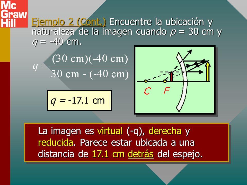 Ejemplo 2: Una flecha se coloca a 30 cm de la superficie de una esfera pulida de 80 cm de radio. ¿Cuál es la ubicación y naturaleza de la imagen? Dibu