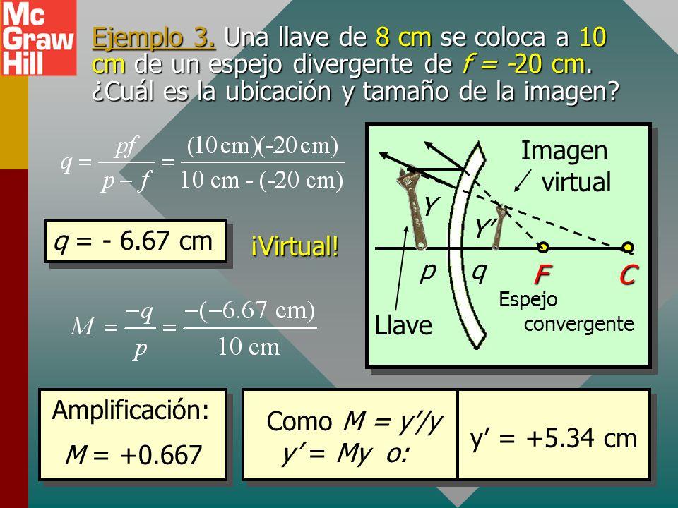 Amplificación de imágenes La amplificación M de una imagen es la razón del tamaño de la imagen y al tamaño del objeto y. Amplificación: y y y son posi