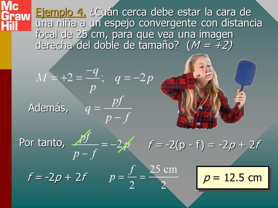 Ejemplo 3. Una llave de 8 cm se coloca a 10 cm de un espejo divergente de f = -20 cm. ¿Cuál es la ubicación y tamaño de la imagen? Amplificación: M =