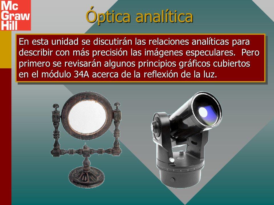 Objetivos: Después de completar este módulo deberá: Definir e ilustrar los siguientes términos: imagen real y virtual, espejos convergentes y divergen