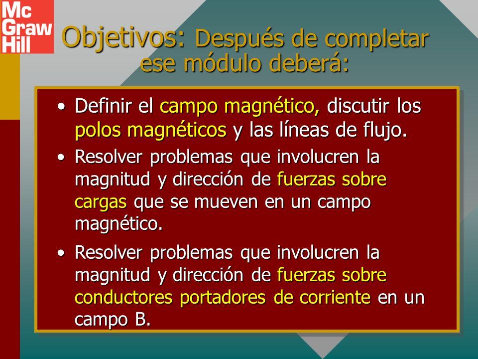 Objetivos: Después de completar ese módulo deberá: Definir el campo magnético, discutir los polos magnéticos y las líneas de flujo.Definir el campo magnético, discutir los polos magnéticos y las líneas de flujo.