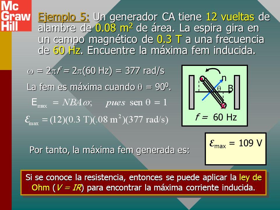 Corriente sinusoidal de generador La fem varía sinusoidalmente con fem máx y mín +E+E -E-E Para N vueltas, la fem es: x. x.