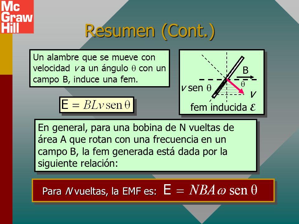 Resumen (Cont.) Ley de Lenz: Una corriente inducida estará en una dirección tal que producirá un campo magnético que se opondrá al movimiento del camp