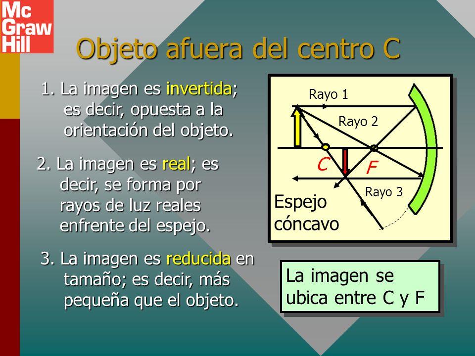 Naturaleza de las imágenes Un objeto se coloca enfrente de un espejo cóncavo. Es útil trazar las imágenes conforme el objeto se mueve cada vez más cer