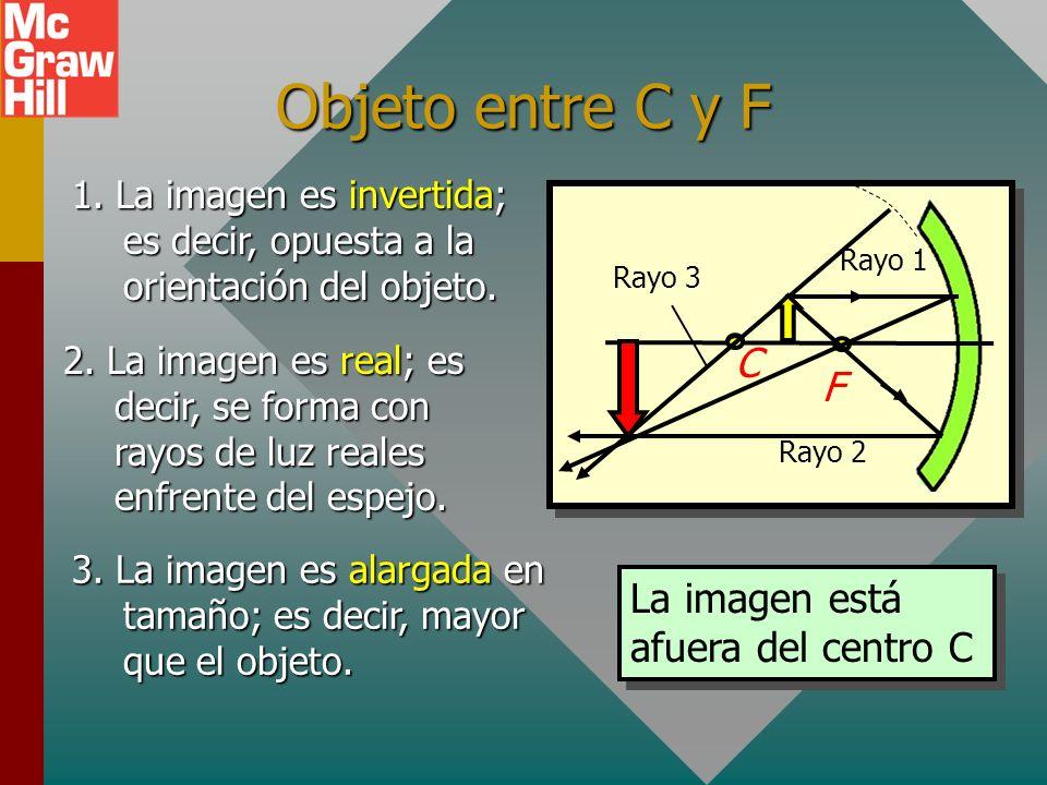 Objeto en el centro C C F Rayo 2 Rayo 1 1. La imagen es invertida; es decir, opuesta a la orientación del objeto. 2. La imagen es real; es decir, se f