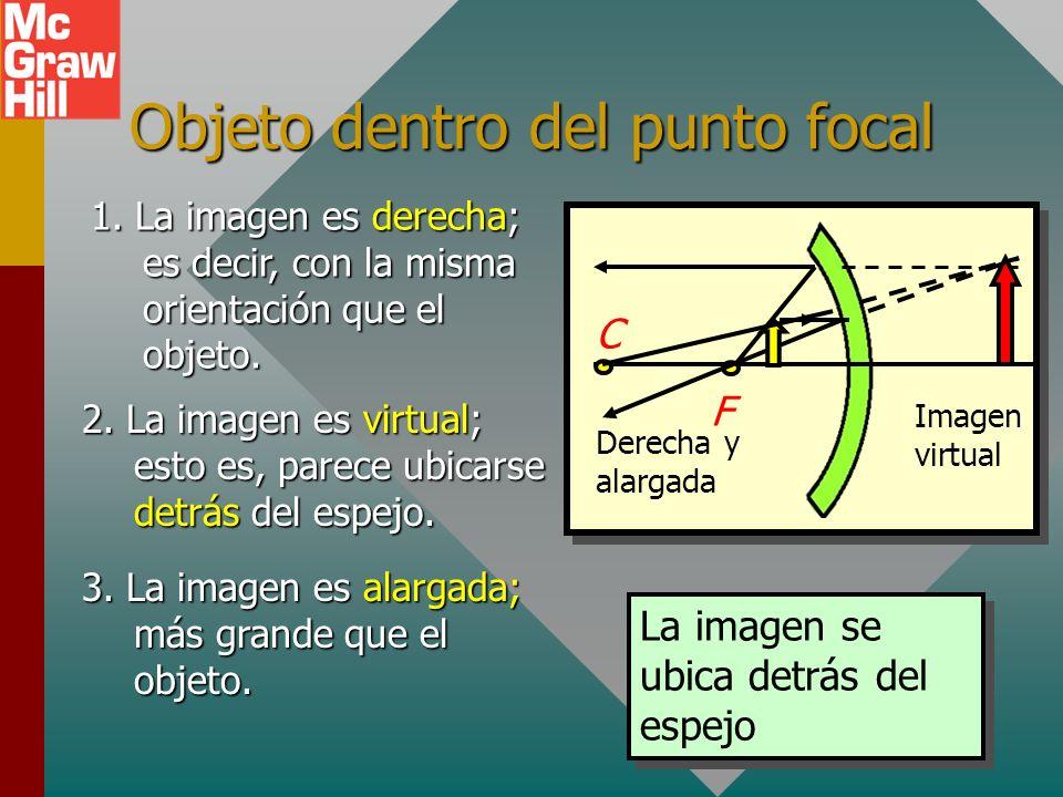 Objeto en el punto focal La imagen se ubica en el infinito (no se forma). C F Rayo 3 Los rayos reflejados son paralelos Cuando el objeto se ubica en e