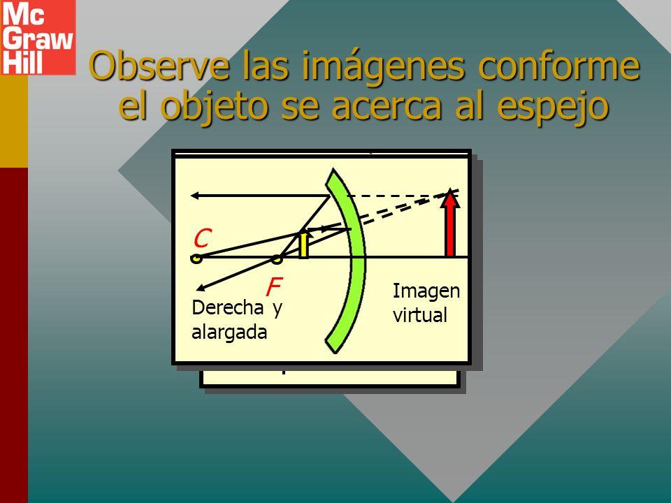 Objeto dentro del punto focal 1. La imagen es derecha; es decir, con la misma orientación que el objeto. 2. La imagen es virtual; esto es, parece ubic
