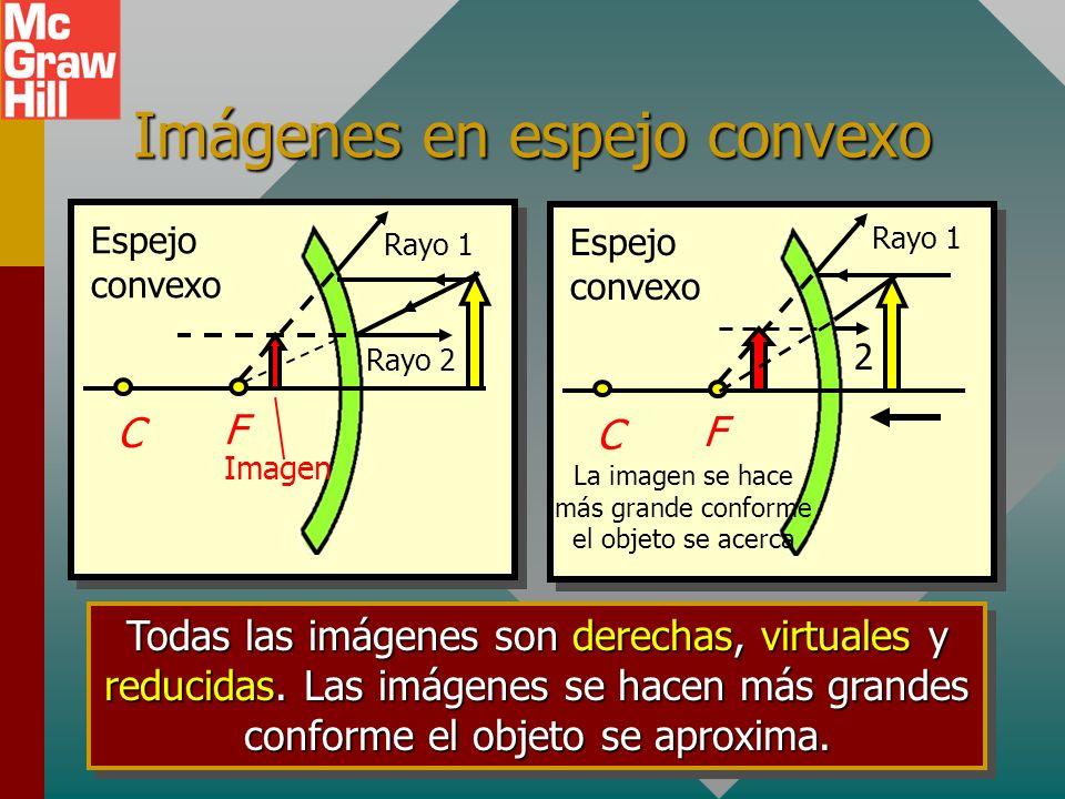 Observe las imágenes conforme el objeto se acerca al espejo Espejo cóncavo C F Rayo 3 Rayo 2 Rayo 1 C F Rayo 2 Rayo 1 Rayo 3 C F Rayo 1 Rayo 3 Rayo 2