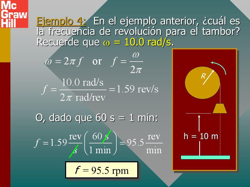 Ejemplo 3: Una cuerda se enrolla muchas veces alrededor de un tambor de 20 cm de radio. ¿Cuál es la velocidad angular del tambor si levanta la cubeta