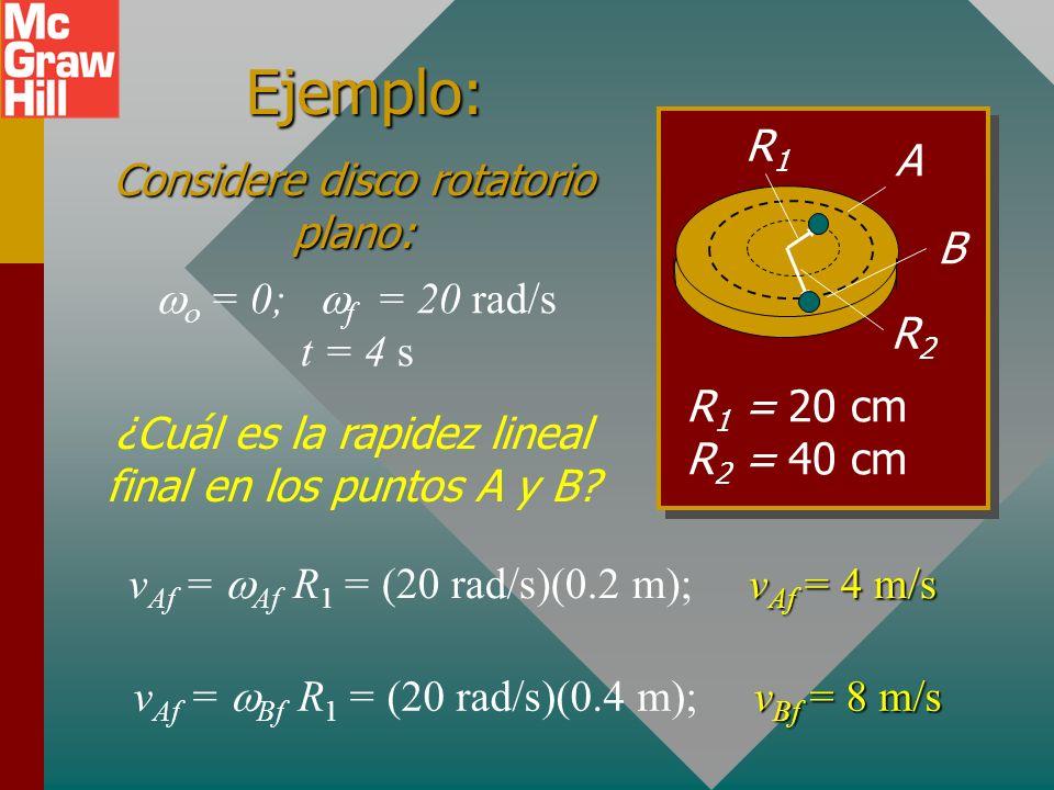 Aceleración angular y lineal: De la relación de velocidad se tiene: v = R Velocidad lineal contra angular a = R Acel. lineal = Acel. angular x radio