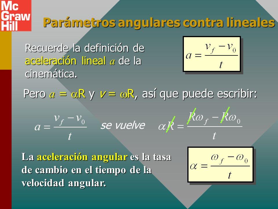 Ejemplo de aceleración R 1 = 20 cm R 2 = 40 cm ¿Cuáles son las aceleraciones angular y lineal promedio en B? R1R1 R2R2 A B = 0; f = 20 rad/s t = 4 s C