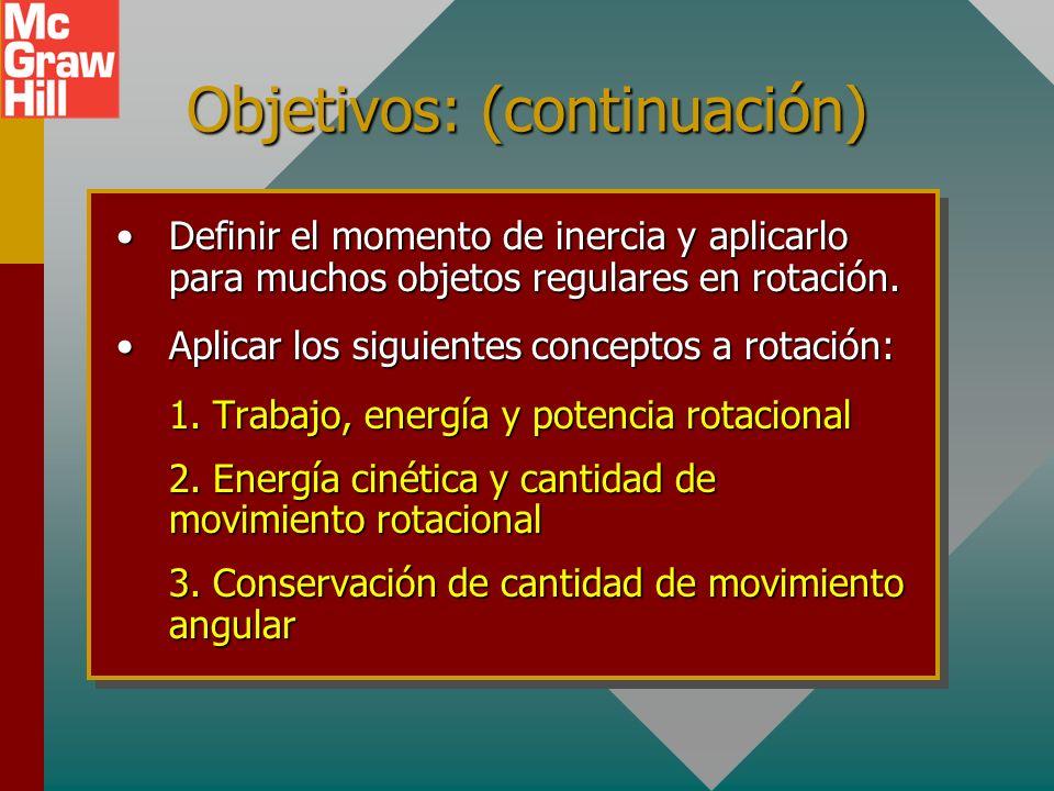 Objetivos: Después de completar este módulo, deberá: Definir y aplicar los conceptos de desplazamiento, velocidad y aceleración angular.Definir y apli