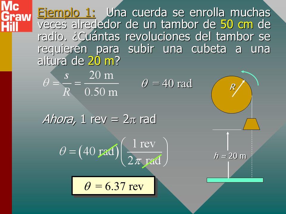 Definición del radián Un radián es el ángulo subtendido al centro de un círculo por una longitud de arco s igual al radio R del círculo. 1 rad = = 57.