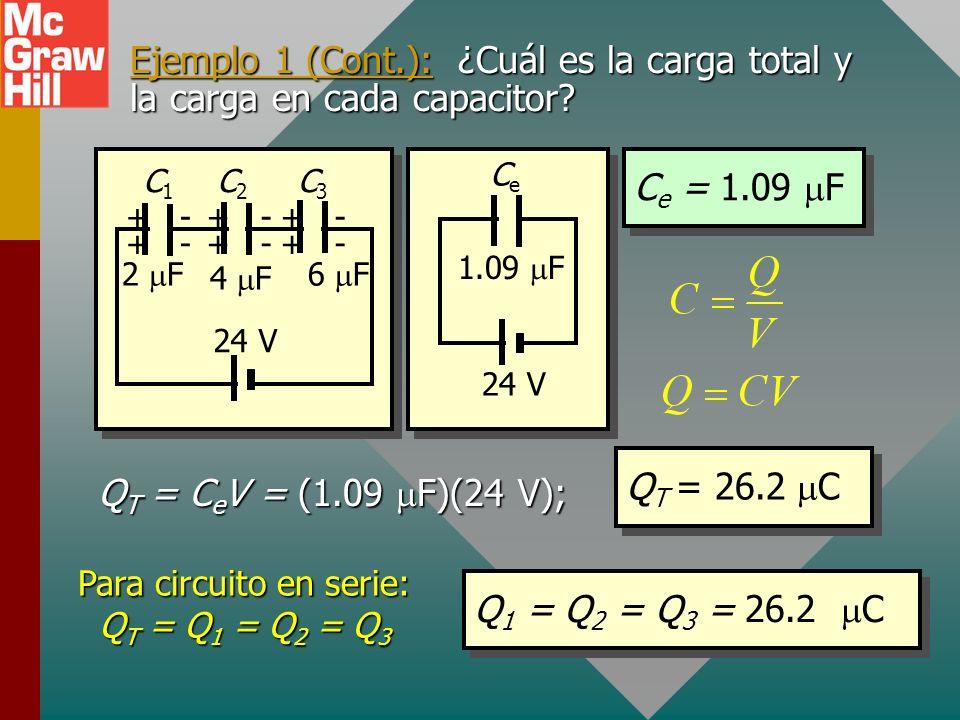 Ejemplo 1 (Cont.): El circuito equivalente se puede mostrar como sigue, con una sola C e. + + - - + + + + - - - - 2 F C1C1 C2C2 C3C3 24 V 4 F 6 F 1.09