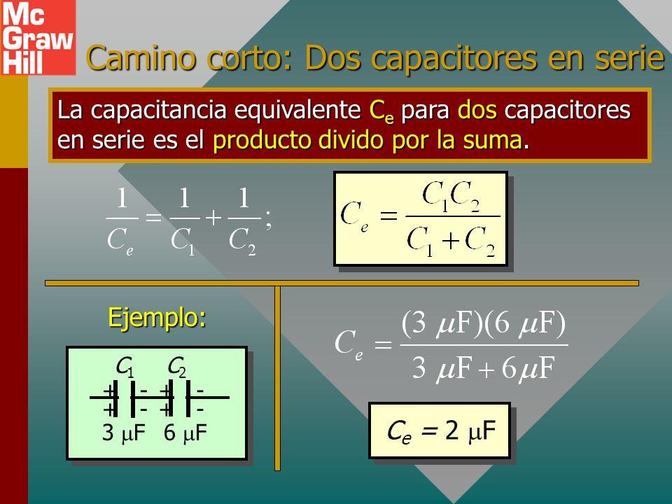 + + - - + + + + - - - - 2 F C1C1 C2C2 C3C3 24 V 4 F 6 F V T = 24 V Nota: V T = 13.1 V + 6.55 V + 4.37 V = 24.0 V Ejemplo 1 (Cont.): ¿Cuál es el voltaj