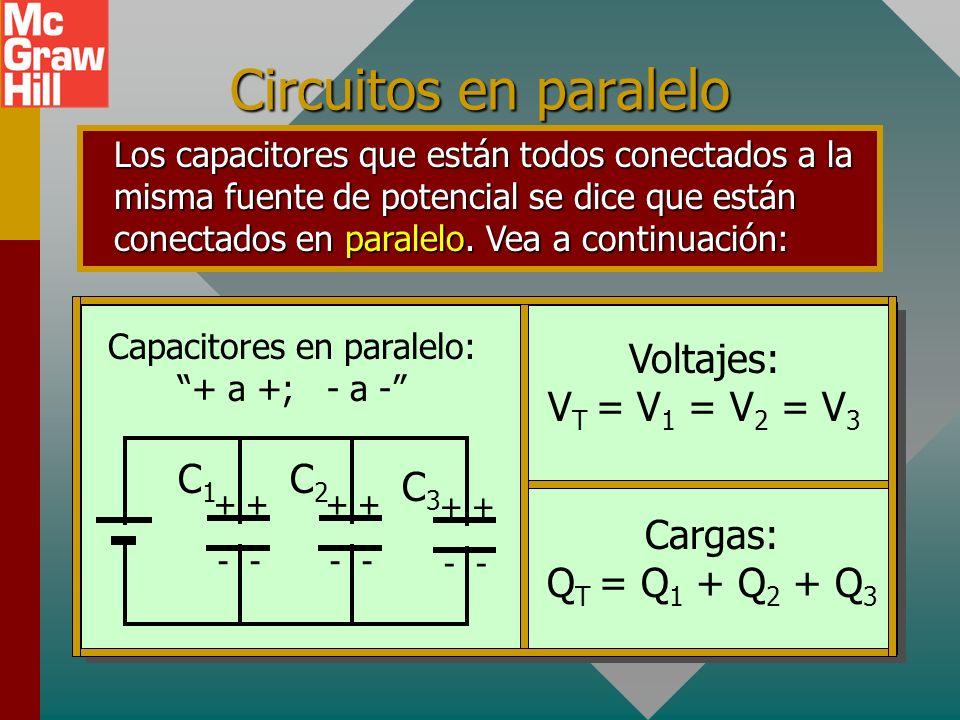 Camino corto: Dos capacitores en serie La capacitancia equivalente C e para dos capacitores en serie es el producto divido por la suma. 3 F6 F + + - -