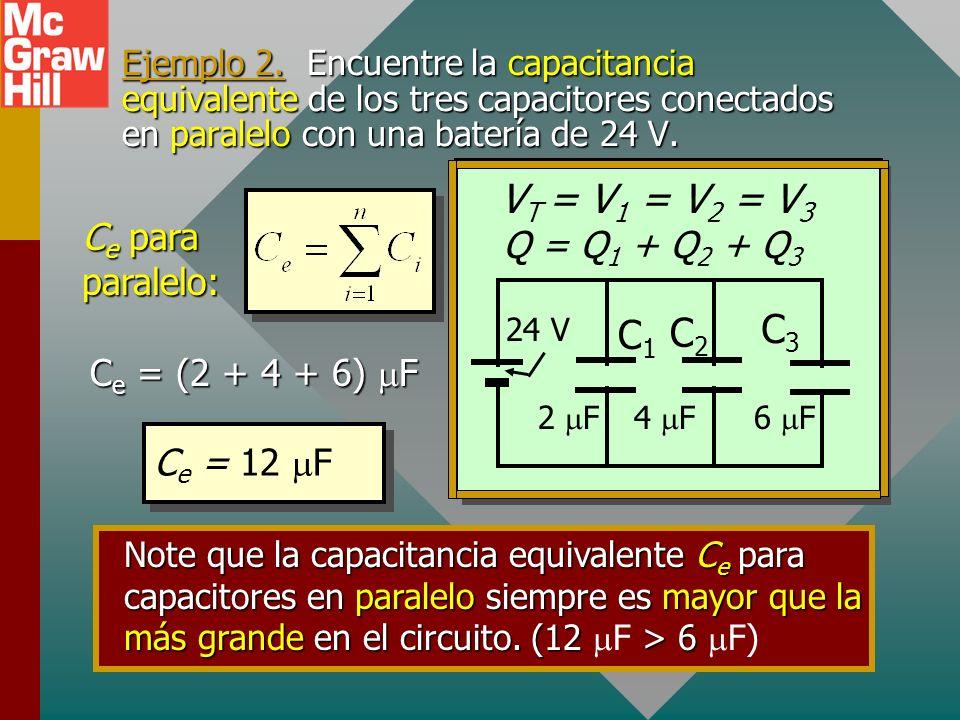 Capacitancia equivalente: en paralelo Q = Q 1 + Q 2 + Q 3 C e equivalente para capacitores en paralelo: Voltajes iguales: CV = C 1 V 1 + C 2 V 2 + C 3