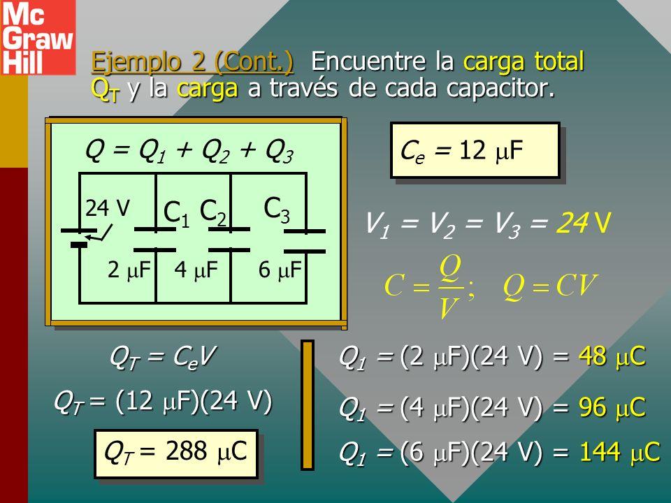 Ejemplo 2. Encuentre la capacitancia equivalente de los tres capacitores conectados en paralelo con una batería de 24 V. C e para paralelo: C e = 12 F