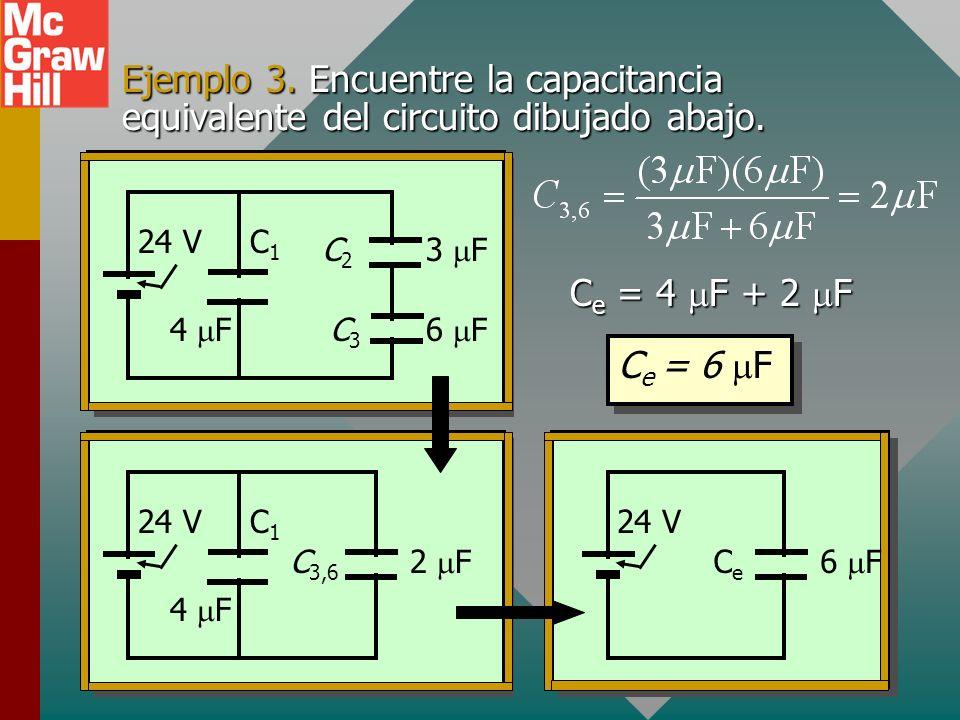 Ejemplo 2 (Cont.) Encuentre la carga total Q T y la carga a través de cada capacitor. C e = 12 F C2C2 C3C3 C1C1 2 F4 F6 F 24 V Q = Q 1 + Q 2 + Q 3 V 1