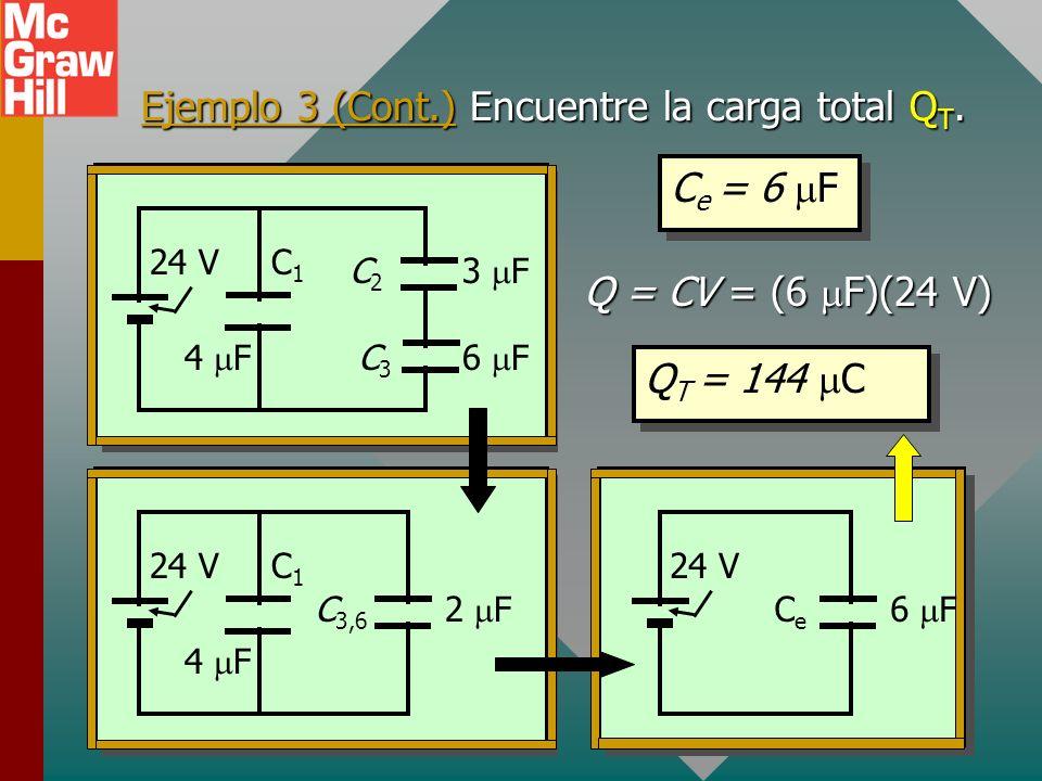 Ejemplo 3. Encuentre la capacitancia equivalente del circuito dibujado abajo. C1C1 4 F 3 F 6 F 24 V C2C2 C3C3 C1C1 4 F 2 F 24 V C 3,6 CeCe 6 F 24 V C