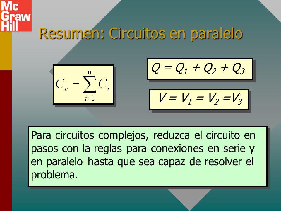 Resumen: circuitos en serie Q = Q 1 = Q 2 = Q 3 V = V 1 + V 2 + V 3 Para dos capacitores a la vez: