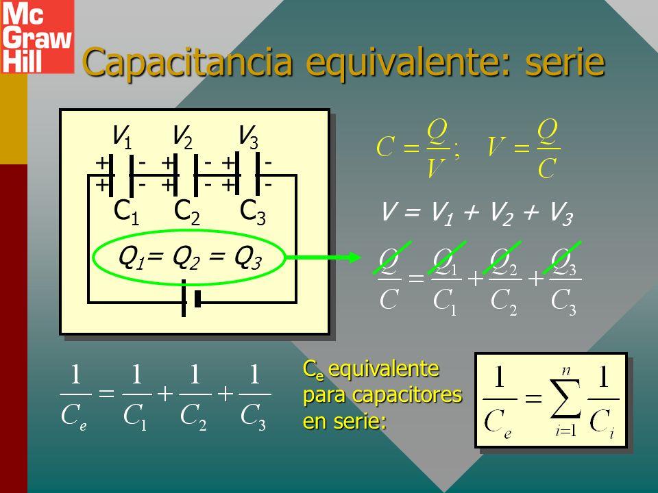Voltaje sobre capacitores en serie Dado que la diferencia de potencial entre los puntos A y B es independiente de la trayectoria, el voltaje de la bat