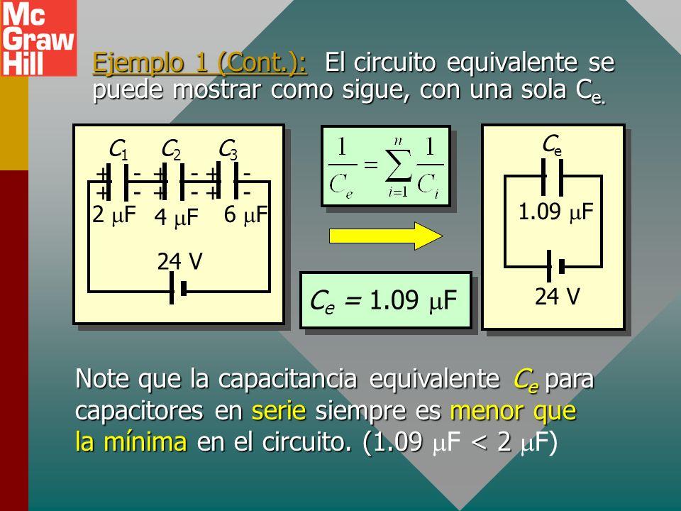 Ejemplo 1. Encuentre la capacitancia equivalente de los tres capacitores conectados en serie con una batería de 24 V. + + - - + + + + - - - - 2 F C1C1