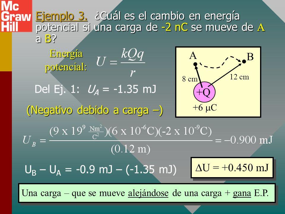 Movimiento de una carga negativa Considere los puntos A, B y C. Suponga que se mueve una -q negativa. Si -q se mueve de A a B, ¿el campo E realiza tra