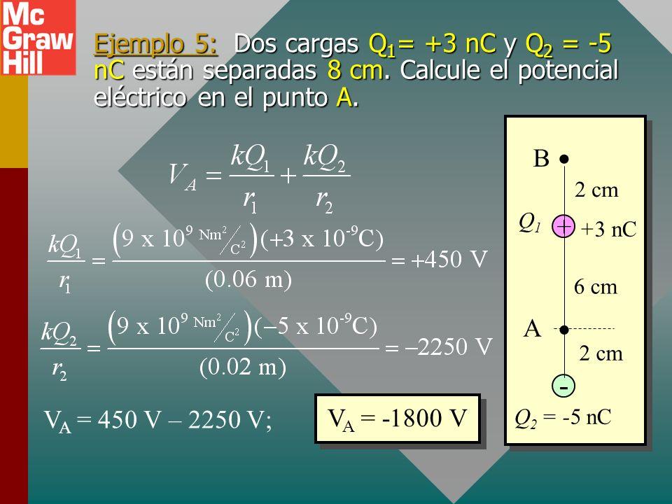 Potencial para múltiples cargas El potencial eléctrico V en la vecindad de algunas cargas es igual a la suma algebraica de los potenciales debidos a c
