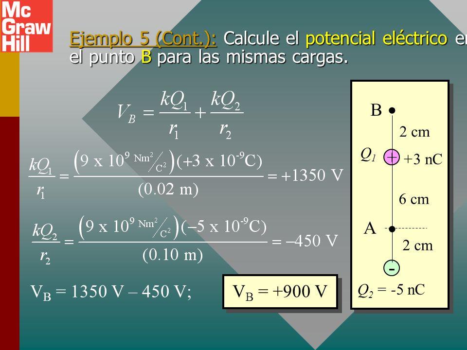 Ejemplo 5: Dos cargas Q 1 = +3 nC y Q 2 = -5 nC están separadas 8 cm. Calcule el potencial eléctrico en el punto A. + Q 2 = -5 nC - Q1Q1 +3 nC 6 cm 2