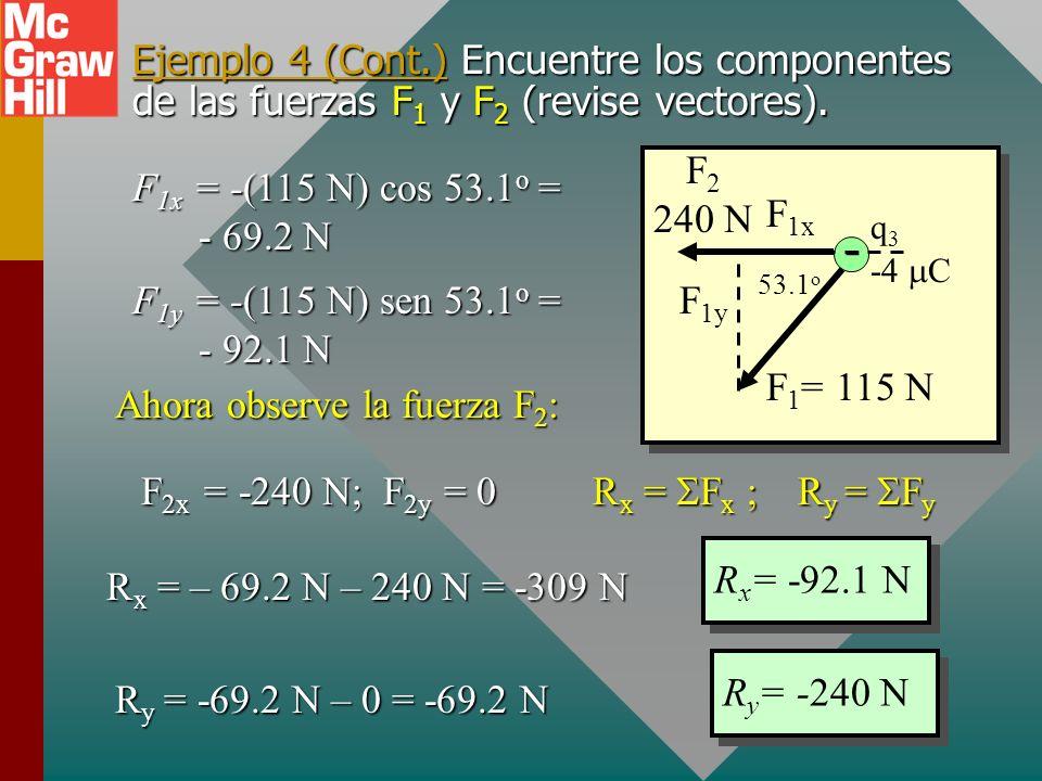 Ejemplo 4 (Cont.) A continuación encuentre las fuerzas F 1 y F 2 a partir de la ley de Coulomb. Tome los datos de la figura y use unidades SI. F 1 = 1