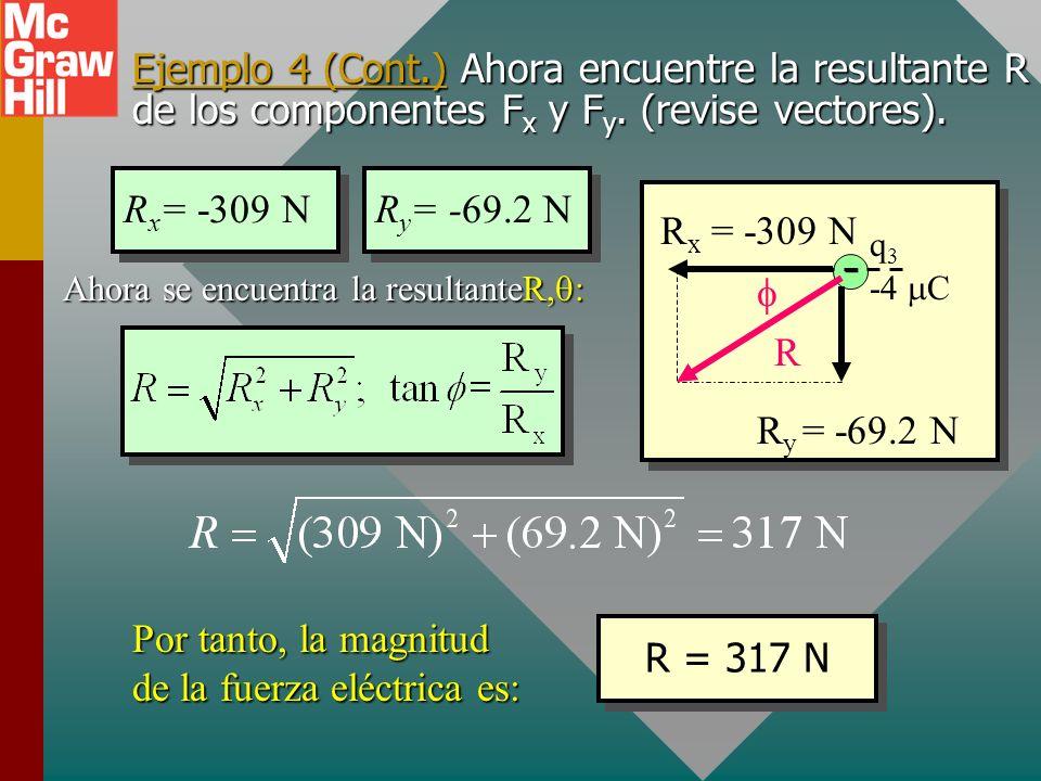 Ejemplo 4 (Cont.) Encuentre los componentes de las fuerzas F 1 y F 2 (revise vectores). 53.1 o - -4 C q3q3 F 1 = 115 N F 1y F 1x F 1x = -(115 N) cos 5
