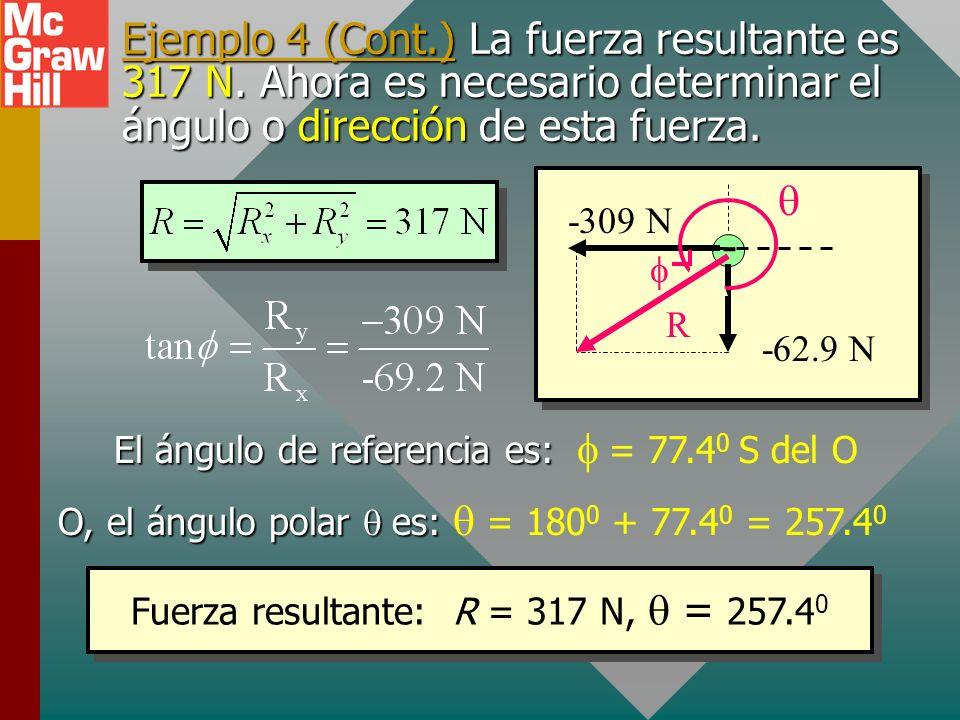 Ejemplo 4 (Cont.) Ahora encuentre la resultante R de los componentes F x y F y. (revise vectores). R x = -309 N R y = -69.2 N - -4 C q3q3 R y = -69.2